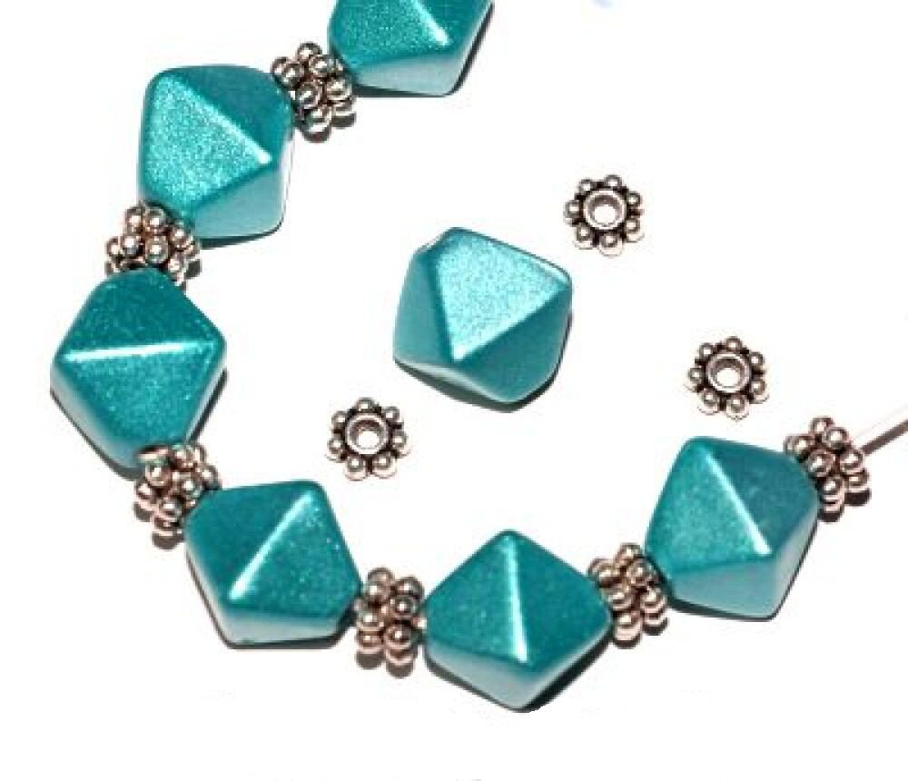 *HUGE CHARMS & BEADS SALE!* 10 x Teal 'Metallic Lustre' Bicone Glass Beads 13mm + 20 Silver Daisy Spacers (Ref:13A36) Just Say Beads