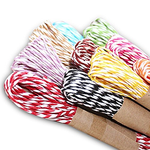 Carykon 12 Colors Raffia Stripes Paper String For DIY Making Gift Wrapping Deco, 10 Yards of Each Color (Double Color), Colors May Vary