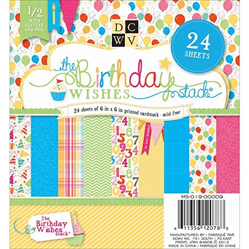 Die Cuts With A View Stack, 6-inches by 6-inches, Birthday Wishes (Cut Phrase Scrapbook Die)