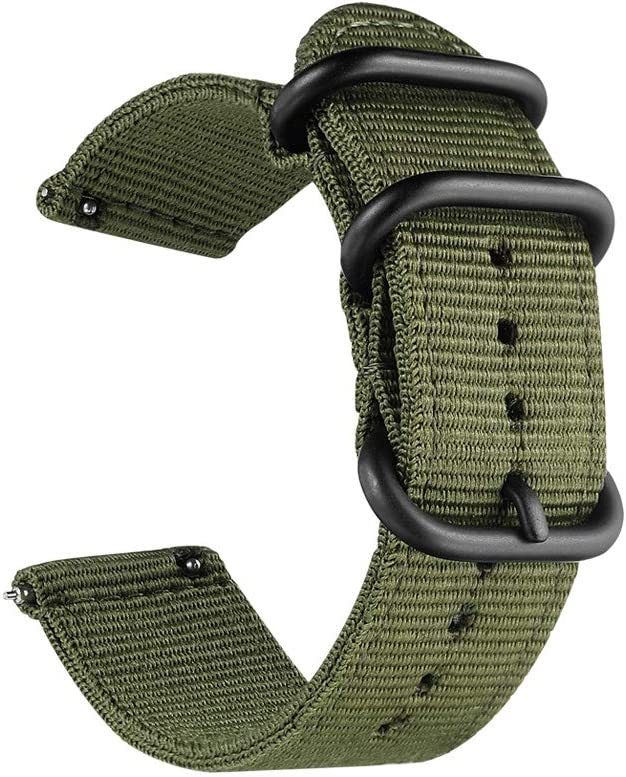 22mm Universal Ballistic Watch Band, CNYMANY Nylon Canvas Woven Loop Replacement Strap Wristband Buckle Fastener Adjustable Closure for Smart-watch Sport Fitness Tracker - Green