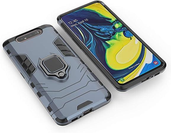 /Étui de protection pour Samsung Galaxy A80 bleu absorbant les chocs avec anneau de rotation /à 360 degr/és support incassable pour Samsung Galaxy A80 extr/êmement robuste