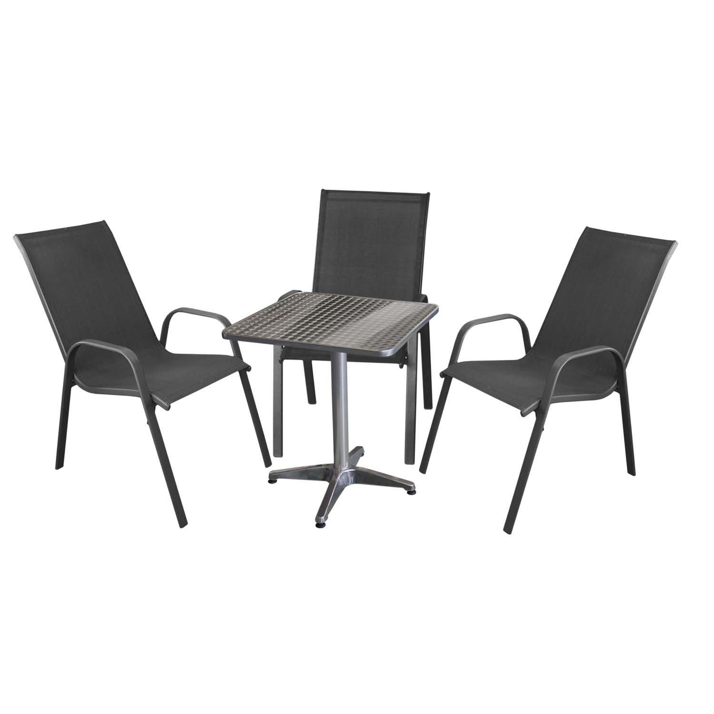 4tlg terrassenm bel set bistrotisch 60x60cm 3x gartenstuhl stapelbar textilenbespannung. Black Bedroom Furniture Sets. Home Design Ideas