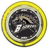 Trademark Gameroom NCAA Western Michigan University Chrome Double Ring Neon Clock, 14''
