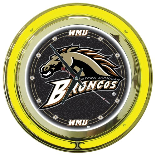 NCAA Western Michigan University Chrome Double Ring Neon Clock, 14