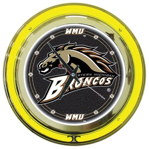 Neon Clock Broncos - NCAA Western Michigan University Chrome Double Ring Neon Clock, 14