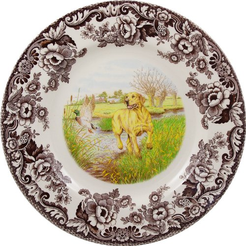 (Spode Woodland Hunting Dogs Yellow Labrador Retriever Dinner Plate, 10.5 inch)