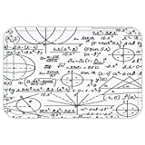 VROSELV Custom Door MatModern Decor School GeniuBright Student Math Geometry Science NumberFormuleImage Black and White