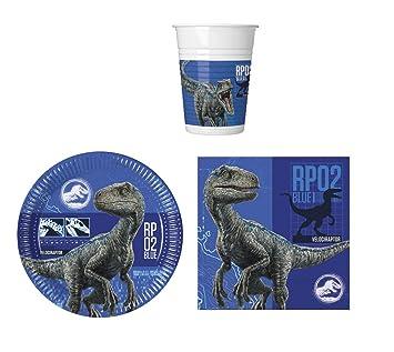 PROCOS Fiesta de vajilla Jurassic World – Platos, Vasos y servilletas (16 Personas)