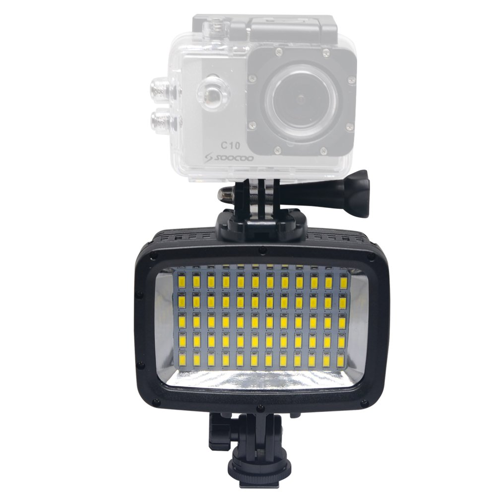 Mcoplus LED-60Y 60pcs Underwater 40m 1800LM Diving Lamp Waterproof Video LED Light for DV DSLR Camera Gopro HTC XIAOYI Sjcam SJ5000 SJ6000 Action Cameras