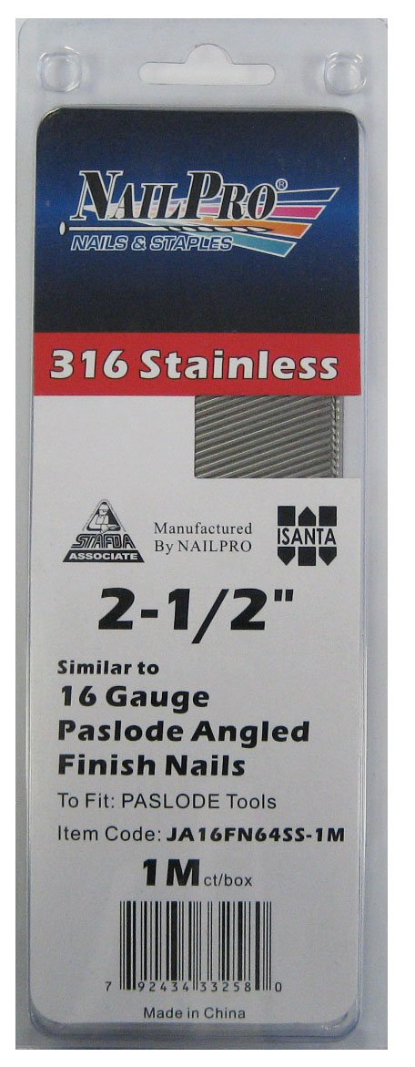 2-1/2'' x 16 Gauge Angled Finish Nails - to fit Paslode Nailers - 1000 pc. pack - Type 316 Stainless Steel (Salt Water Safe)