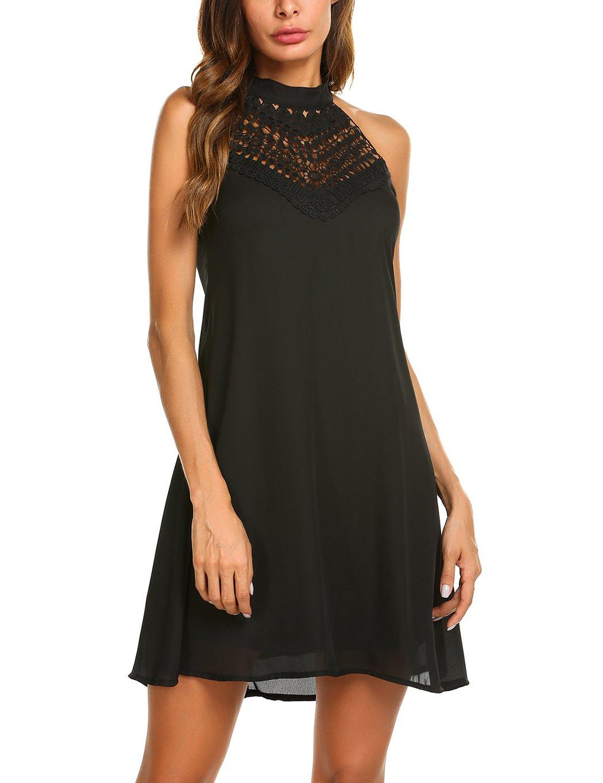 Sweetnight Womens Halter Neck Chiffon Tunic Tank Dress T Shirt Dresses (Black, M)