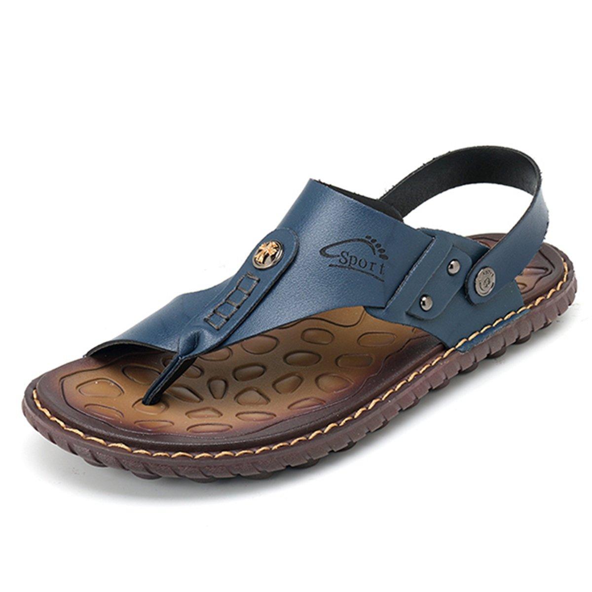 6d94d7de993 gracosy Men s Leather Clip Toe Sandals