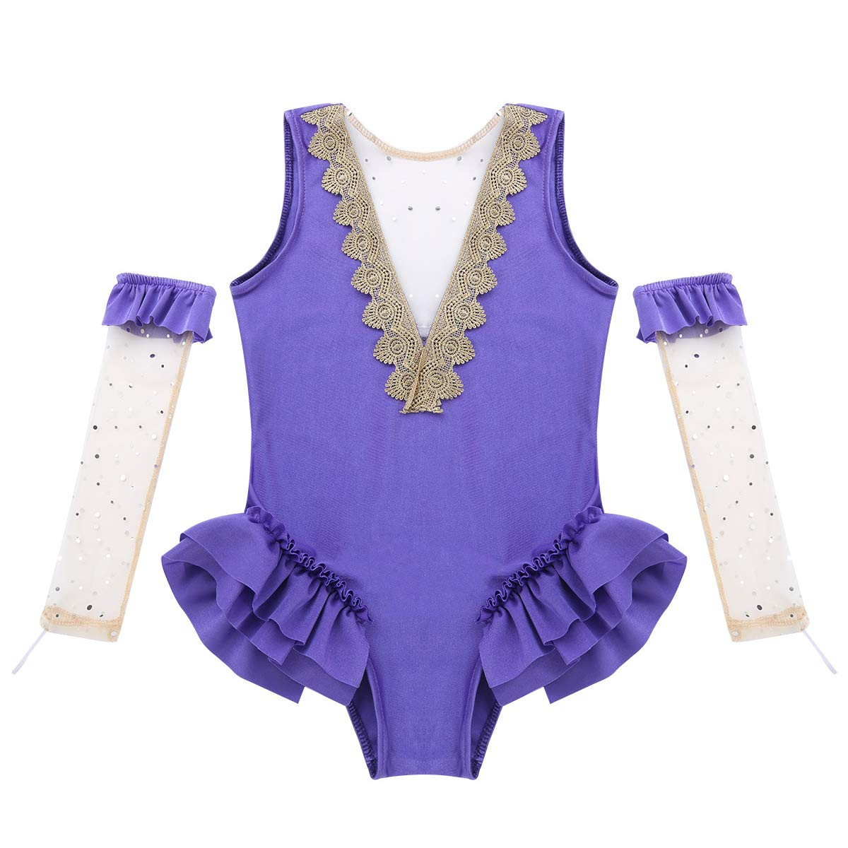 Agoky Enfant Fille Justaucorps Danse Ballet Gym Cirque Performance Body Col V Barboteuses sans Manche D/éguisements Princesse Great/ést Showman Costume Cosplay Halloween 3-8 Ans