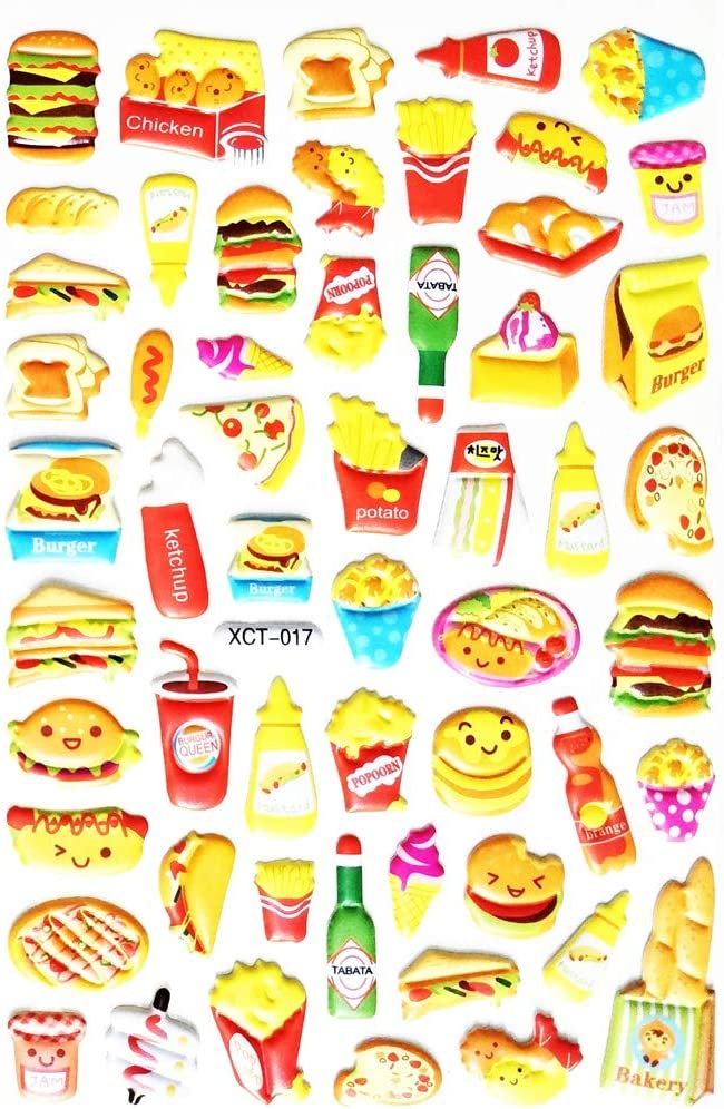 PP Stickers 1 Sheet Cute Snack Food Stickers Hamburger Popcorn French Fries Pizza Food Drinks Cartoon Waterproof Vinyl Reward Stickers Decor Card Diary Album Scrapbooking