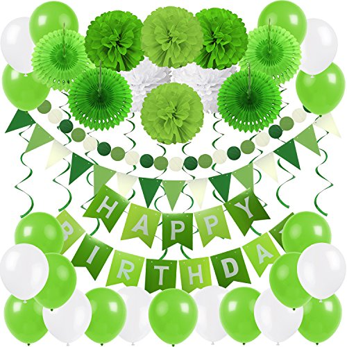 Zerodeco Birthday Party Decoration, Happy Birthday Banner Bunting with 4 Paper Fans Tissue 6 Paper Pom Poms Flower 10 Hanging Swirl and 20 Balloon for Birthday Party Decorations -Green and White -
