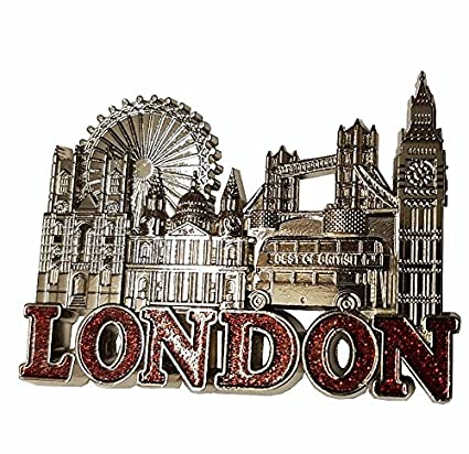 f36de9e66a6 London Metal Silver Coloured Fridge Magnet - Word in Red Glitter    Westminster Abbey   St. Paul s Cathedral   Eye   Tower Bridge   Best ...