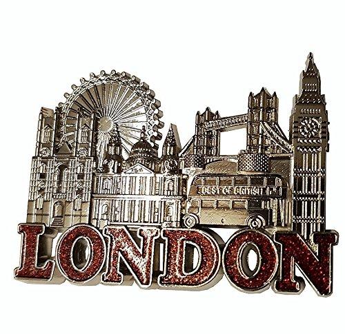Imán Nevera, diseño de Londres de metal color plateado, texto en ...