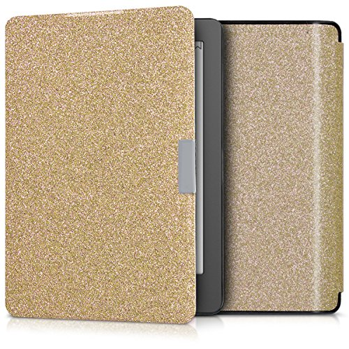 kwmobile Cover for Kobo Aura Edition 2 - flip cover case eReader protective case in plastic - flip case eReader bookstyle Glitter Uniform gold by kwmobile