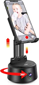 Smart Tracking Holder NO APP Required 360°Rotation Auto Face Tracking Selfie Stick, Cell Phone Foldable Stand & Android Mobile Mount Tripod for Desk/ Live Stream/Vlogging/Podcasting