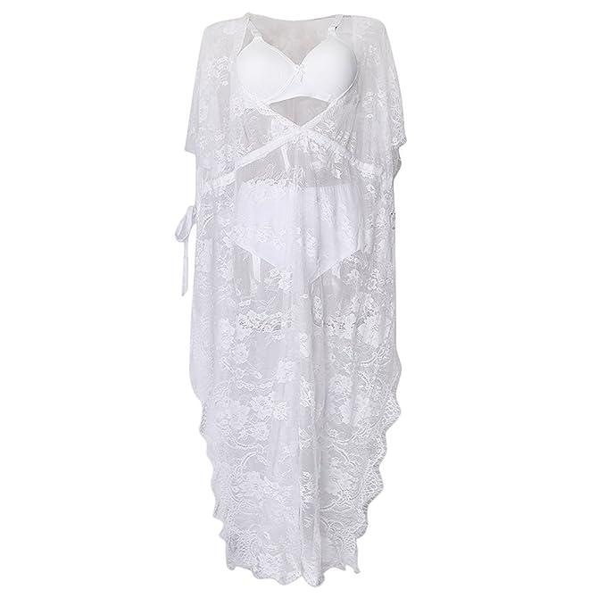 MagiDeal Vestido de Blanco Encaje Fotografía Mujeres Embarazadas Maxi Baby Shower Cumpleaños Playa Boda