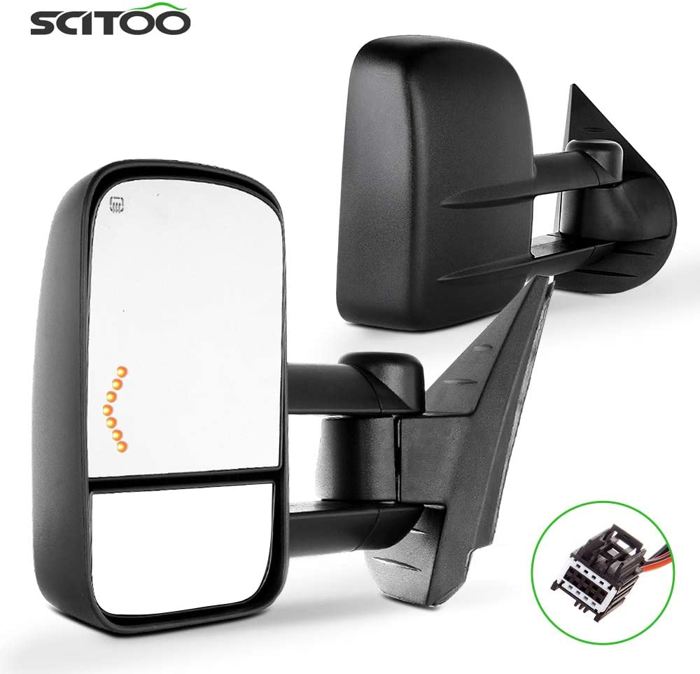 SCITOO Side Mirror Replacement Glass Passenger Right Side Mirror Glass Power Heated Flat Fits for 2002-2004 for Dodge for Ram chrome