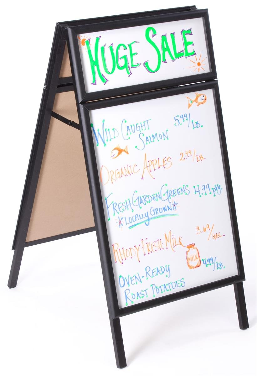 "Menu Board 23-3/4"" w x 45""h x 30""d Black Polished Aluminum Snap Frame Sidewalk Sign Has 21-1/2""w x 27-1/2""h Whiteboard and 21-1/2""w x 8""h Header – Sandwich Board Is Double Sided"