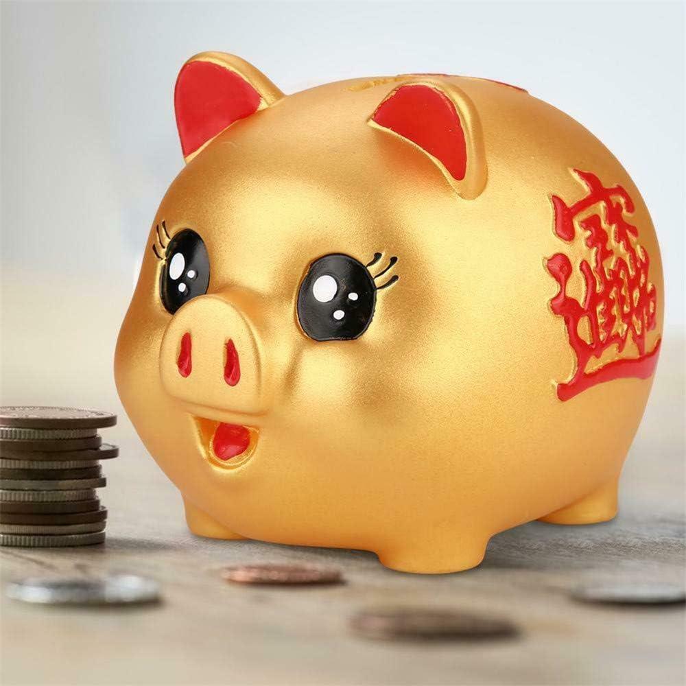 Medium DIYARTS Golden Piggy Bank Salvadanaio A Prova di Tagliuzzino Salvadanaio Lucky Fortune Pig Salvadanaio Ottimo Regalo per Le Ragazze dei Ragazzi