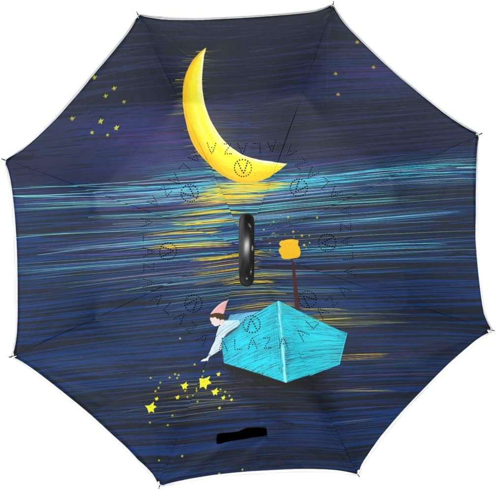 Boy And Girl Looking At The Moon Romantic Night Reverse Umbrella Double Layer Inverted Umbrellas For Car Rain Outdoor With C-Shaped Handle Customized
