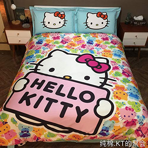- Warm Embrace Kids Bedding Set 100% Natural Cotton Girls Bed in a Bag Hello Kitty,Duvet/Comforter Cover and Pillowcase and Fitted Sheet and Comforter,Twin Size,4 Piece