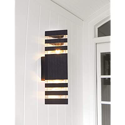 EERU Outdoor Wall Lantern, Wall Sconce as Porch Light Fixture, Waterproof,for Entryways, Yards, Front Porch, Use 2 E26 Bulbs (Bulbs not Included) Up Down Lighting(A)