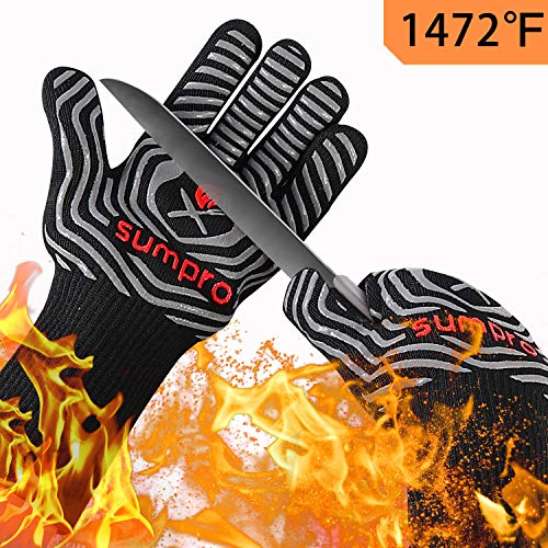 Hot BBQ Gloves Heat Resistant Kitchen Oven Mitts Professional Long