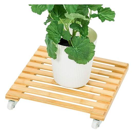 Estantería de Flores Base de Maceta de bambú con polea móvil, con ...