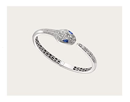 23db0128cc582 Serpenti Snake Bvlgari Style 18k Solid White Gold Round Natural Diamond  Blue Sapphire Women Cuff Bracelet