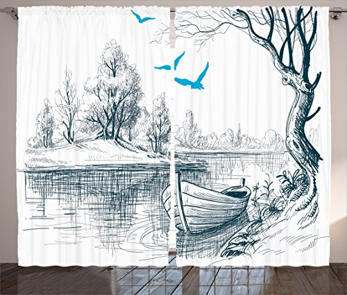 Ambesonne Landscape Curtains, Boat on Calm River Trees Birds Twigs Sketch Drawing Clipart Water Minimalist, Living Room Bedroom Window Drapes 2 Panel Set, 108