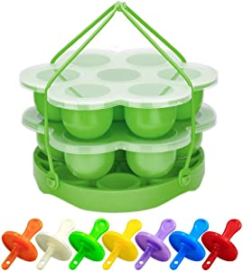 PRAMOO Silicone Egg Bites Mold and Egg Steamer Rack Trivet with Sling, Compatible with Instant Pot, 3 pcs/set for 5, 6 & 8qt Pressure Cooker Accessories (Green)
