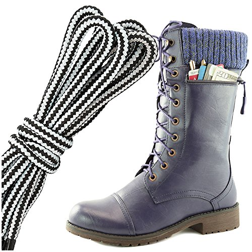 Dailyshoes Womens Combat Stijl Lace Up Enkellaarsje Ronde Teen Militaire Knit Creditcard Mes Geld Portemonnee Pocket Laarzen, Wit Paars Pu