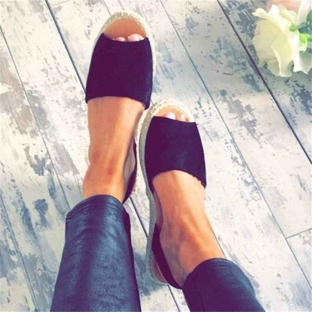 Thenxin Summer Retro Women's Ankle Strap Slippers Flat Sandals Ladies Beach Roman Shoes (Black,8 US) by Thenxin (Image #3)
