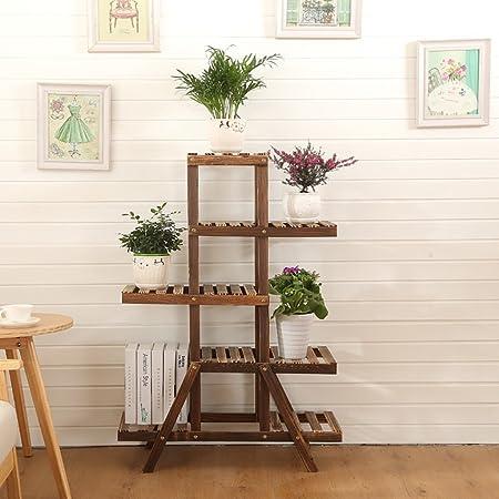 Estantes para plantas / estanteria jardin Soporte de flores de madera maciza Aterrizaje de madera Estantería de múltiples capas Sencillo balcón de la sala de estar Estante de la maceta estanterias de: