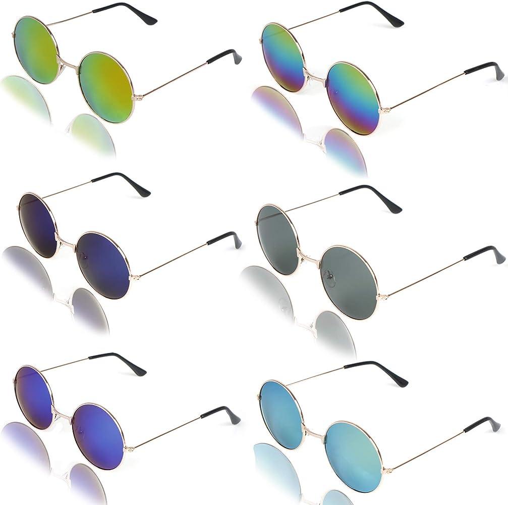 Amazon.com: 6 gafas de sol redondas Hippie estilo Hippie ...