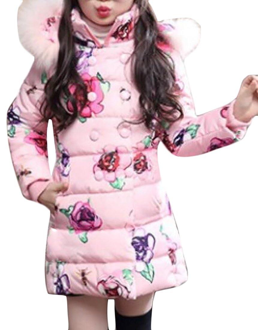 Pandapang Girls' Winter Floral Zip-Up Faux Fur Hood Puffer Outwears Jacket