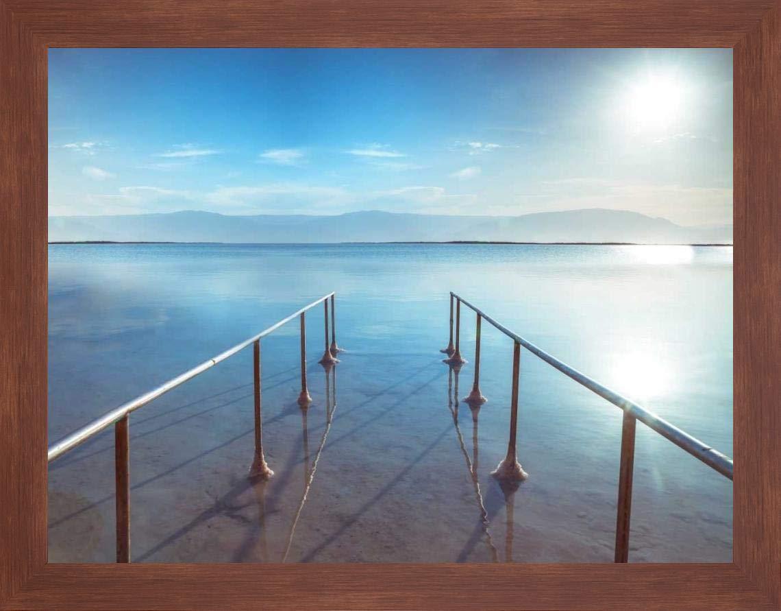Peir on Dead Sea, Israel by Assaf Frank - 19'' x 24'' Framed Giclee Canvas Art Print Walnut Finish - Ready to Hang by Canvas Art USA