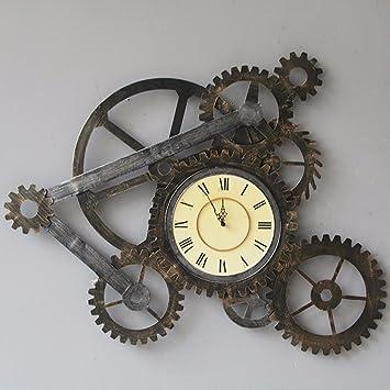 Wall Clock QX IAIZI Relojes de Pared Antiguos Reloj de Pared con Engranajes, Relojes de