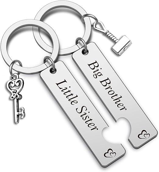 best friend *BFF soul mate little big brother present BRUDERHERZ hand stamped keychain lil bro German word keychain sibling gift