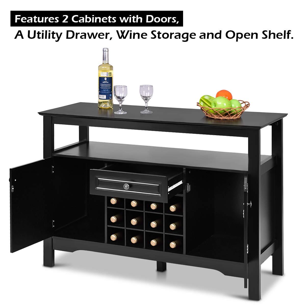 Giantex Buffet Server Wood Cabinet Sideboard Cupboard ...