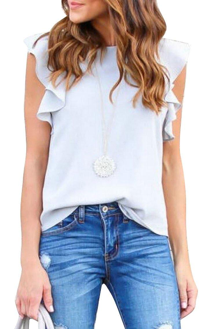 40690ede ARTFFEL-Women Summer Ruffle Sleeveless Chiffon Slim Cami Top Tee Shirt  Blouse at Amazon Women's Clothing store: