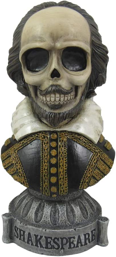 World of Wonders Dead Authors Bust | Zombie Gifts Horror Decor | Statue | Halloween Decor | Goth Room | Horror Gifts Ideas | Computer Decorations | Desk Ideas -Shakespeare