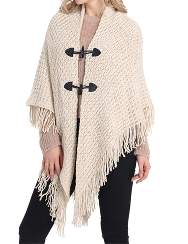 Mescara Cardigan Donna con Bottoni Mantelle Fronte drappeggiato Nappa Autunno Inverno Cappotto Moda Pullover Tops Irregolare