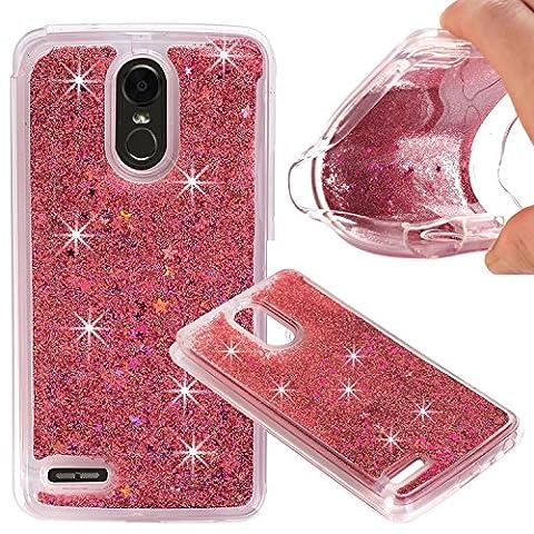 LG Stylo 3 Case, Liquid Case, Asstar Fashion Creative Design Flowing Liquid Floating Luxury Bling Glitter Sparkle Diamond Soft Case for LG Stylo 3 / Stylo 3 Plus / LG Stylus 3 (Rose (Gold Disney Iphone 5s Case)