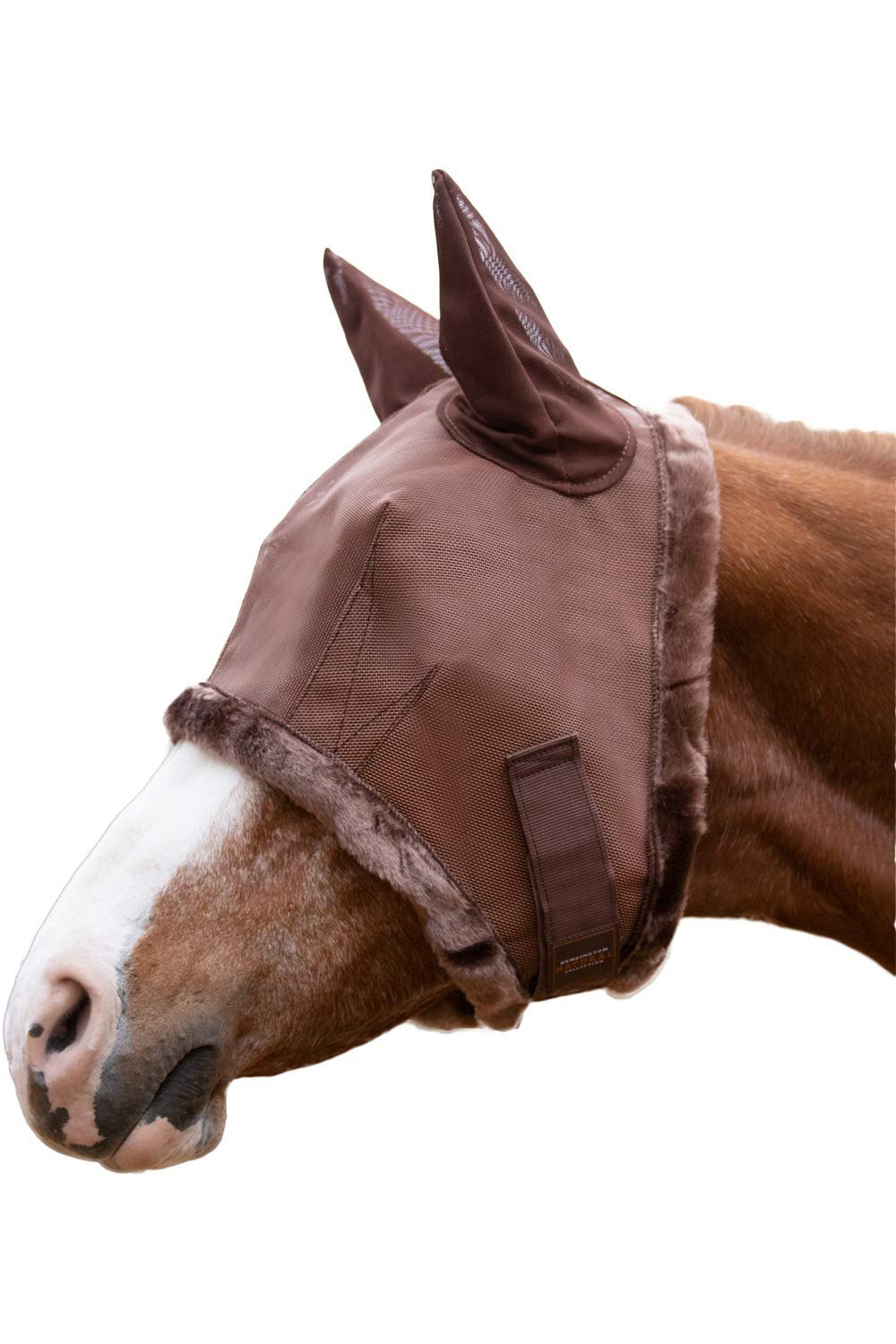 Kensington Fly Mask with Fleece Trim and Soft Ears - Allows Full Visibility with Maximum Protection -with Double Locking System - UV Protection (Medium, Natural Bay)...