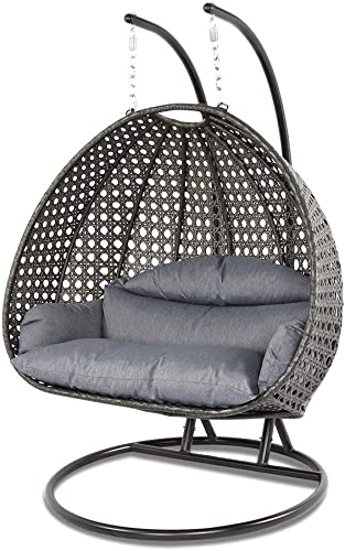 Island Gale Luxury 2 Person Outdoor, Patio, Hanging Wicker Swing Chair X-Large-Plus, Charcoal Rattan Charcoal Cushion